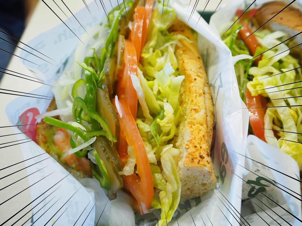 サブウェイの野菜上限サンドイッチ!どれくらい多いか比べてみた。ファーストフードなのに健康!