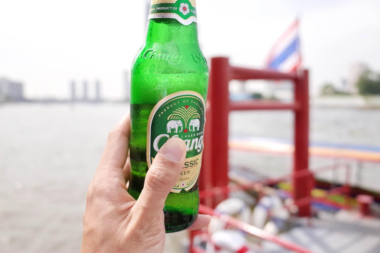 チャオプラヤー河 ボートツアー ビール