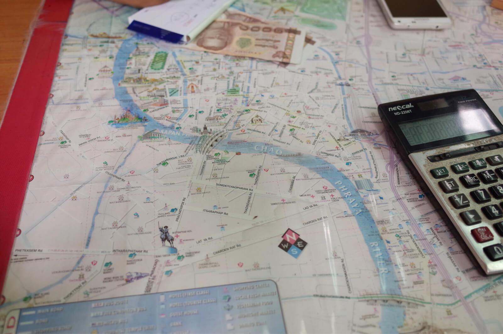 チャオプラヤー河 ボートツアー 地図