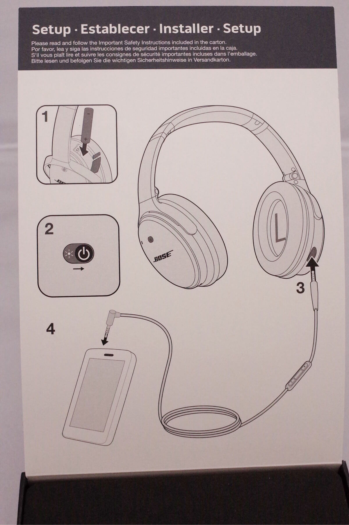 BOSE QuietComfort 25 説明書き