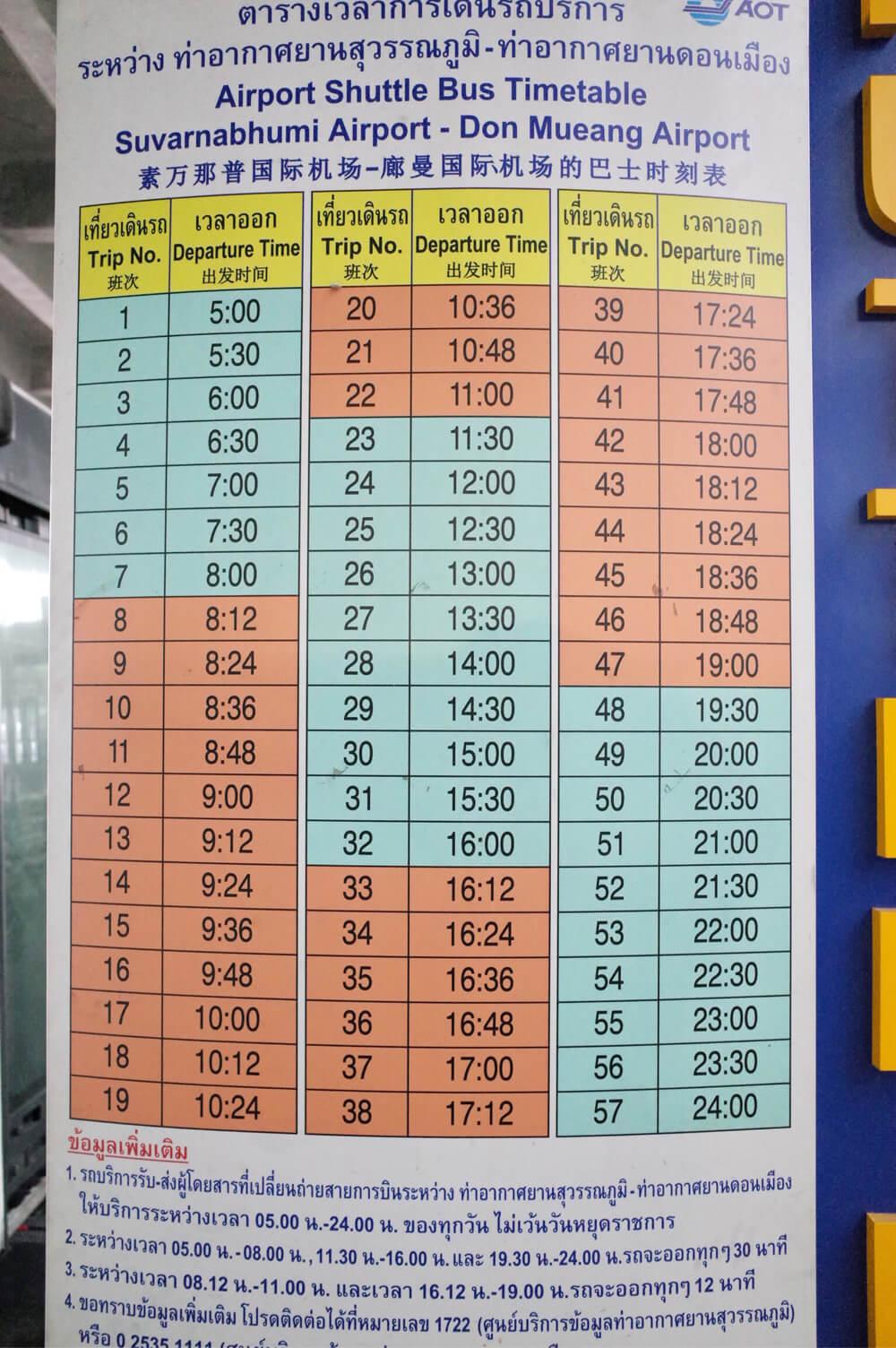 スワンナプーム国際空港 ドンムアン バス 時刻表