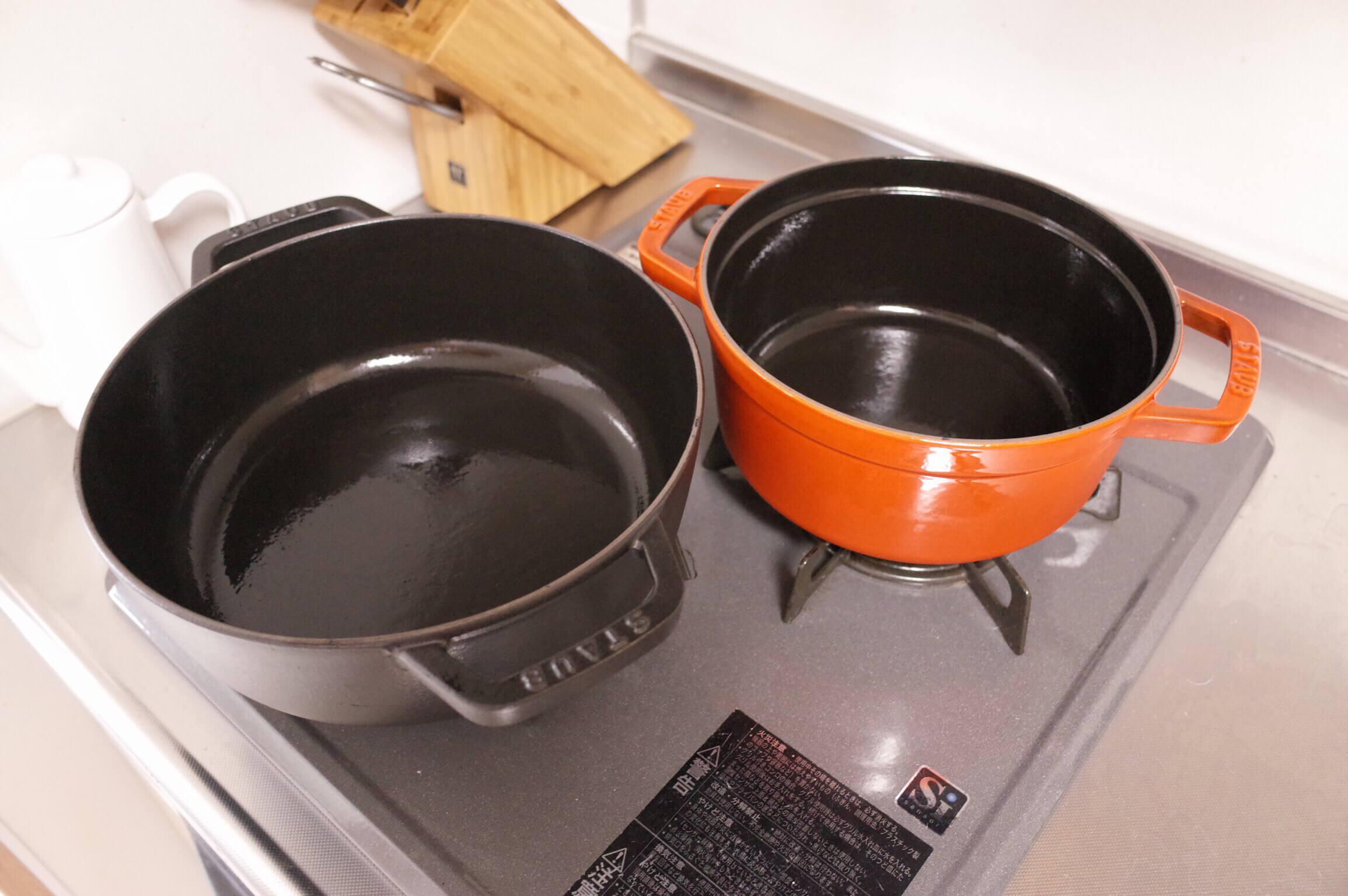 ストウブ 福袋で当たった鍋を4つまとめてシーズニング!面倒でも鍋を長持ちさせるためには必須作業