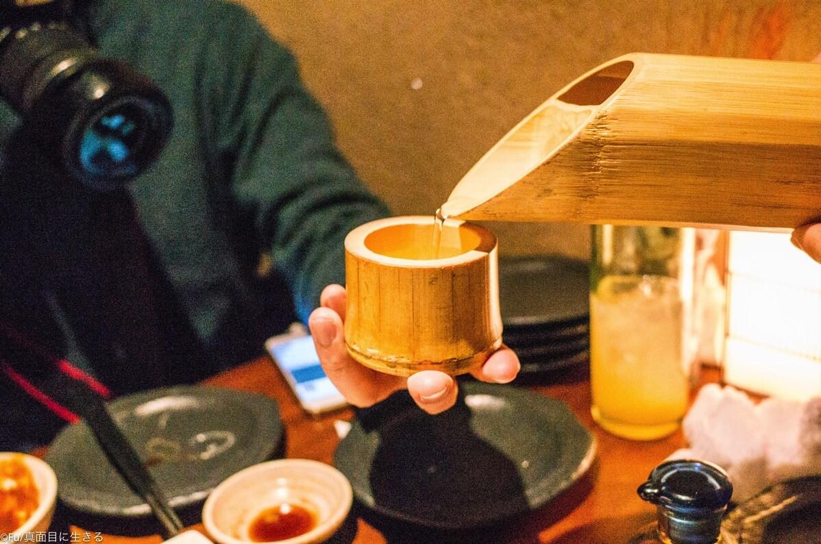 日本酒は竹筒