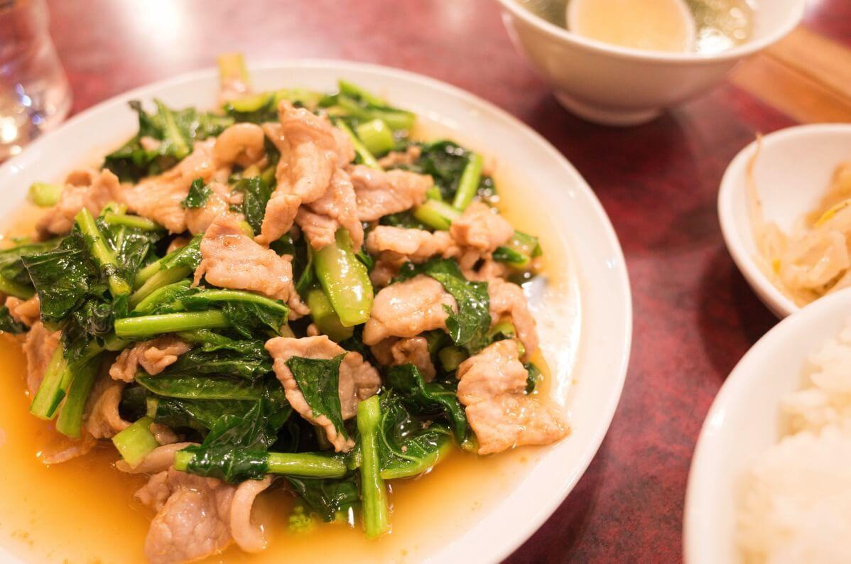 のらぼう菜と豚肉の炒め物