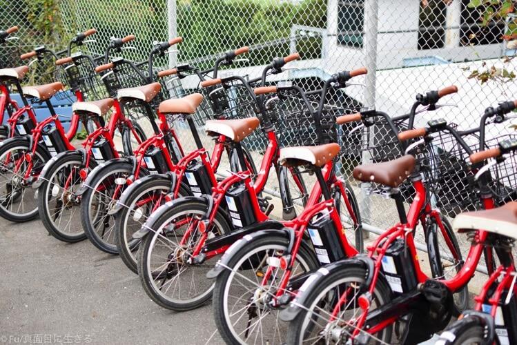 ずらっと並ぶ電動自転車
