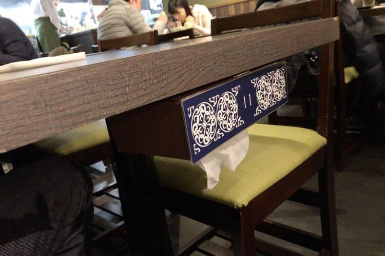 テーブルのティッシュ