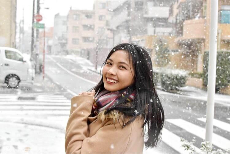 雪降る中で撮影