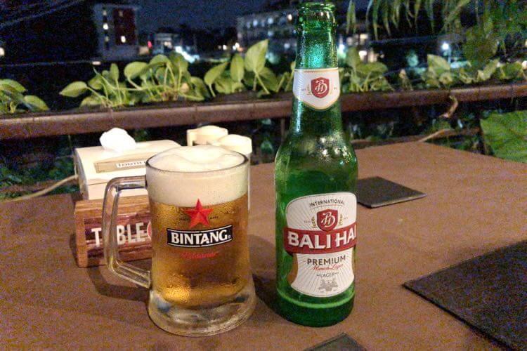 レストランでビール