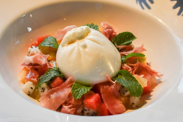 Burrata with Parma Ham & Mixed Tropical Fruits