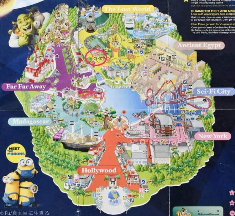 ユニバーサルスタジオシンガポール 園内地図