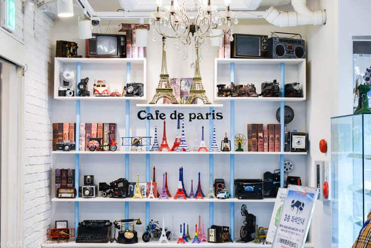 カフェドパリ 明洞1号店 パリの装飾品