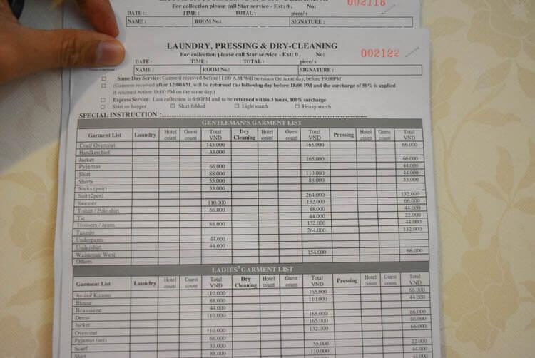 レックス ホテル サイゴン 洗濯物料金