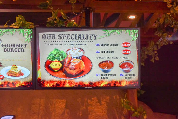 シンガポールナイトサファリ ジャングル ロティサリーレストラン 鳥の丸焼きメニュー