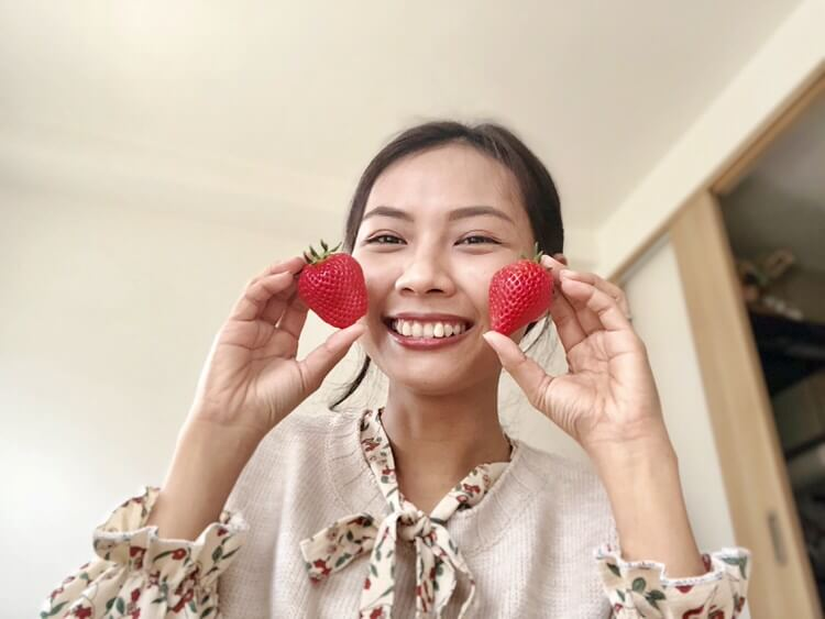 妻とイチゴ