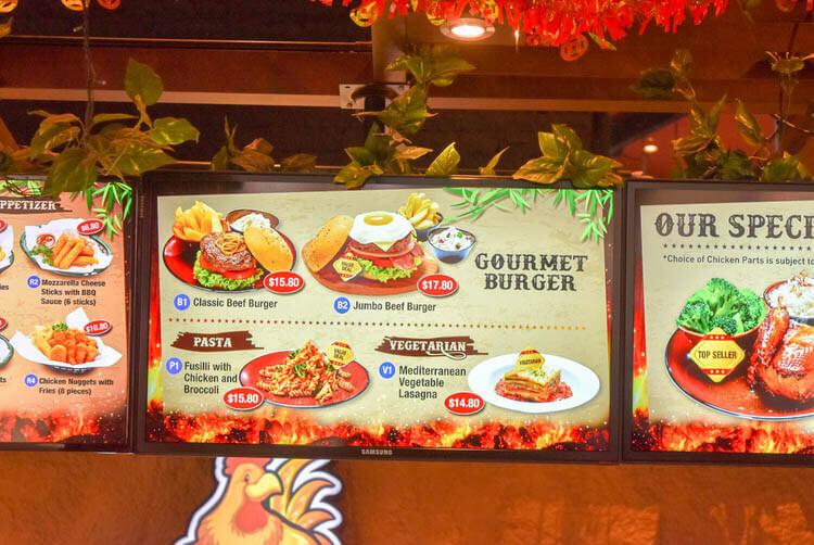 シンガポールナイトサファリ ジャングル ロティサリーレストラン バーガーメニュー