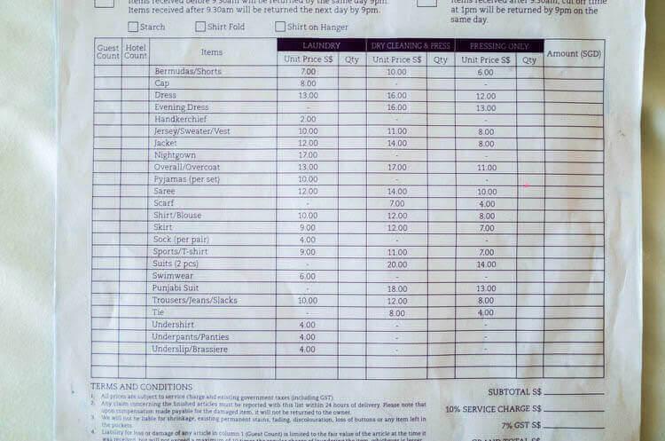 Singヨーテル シンガポール オーチャードロード クリーニング費用