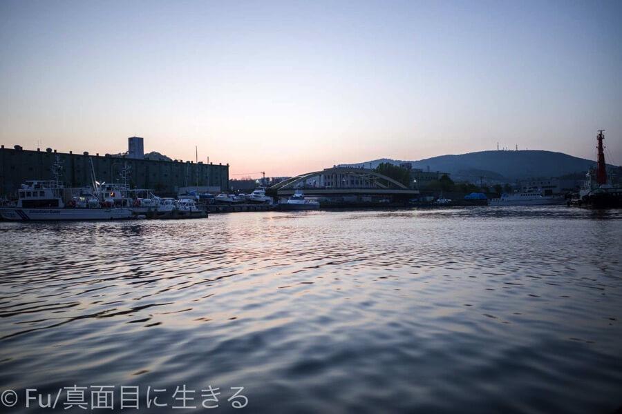 小樽運河クルーズ 日が落ちてきた