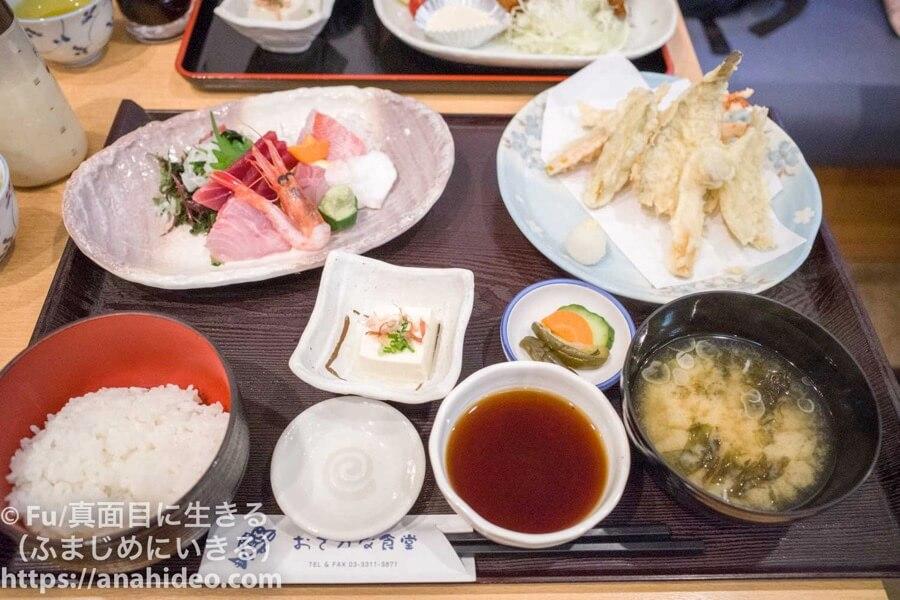阿佐ヶ谷 おさかな食堂の「天ぷらさしみ御前」
