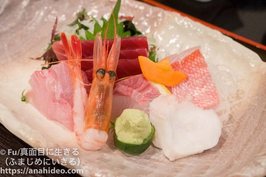 阿佐ヶ谷 おさかな食堂 天ぷらさしみ御前のお刺身