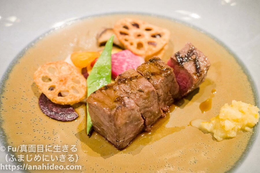 東京マリオットホテル コース料理のステーキ