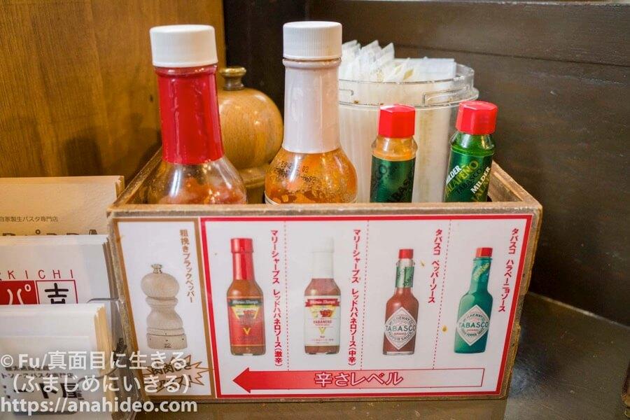 阿佐ヶ谷 ミート屋の胡椒、タバスコソース
