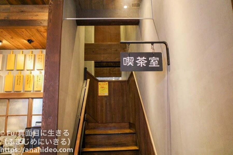 パンの田島 阿佐ヶ谷店 2階にあがる階段