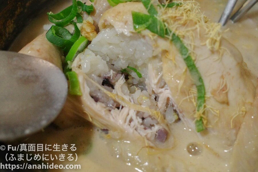 土俗村(トソッチョン) 参鶏湯のお腹の中にはもち米