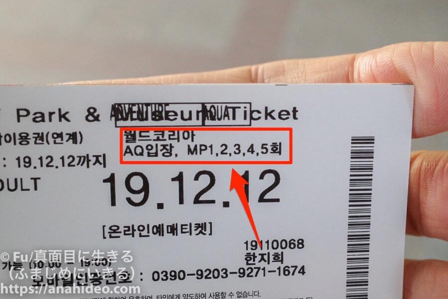 ロッテワールド チケット裏のマジックパス