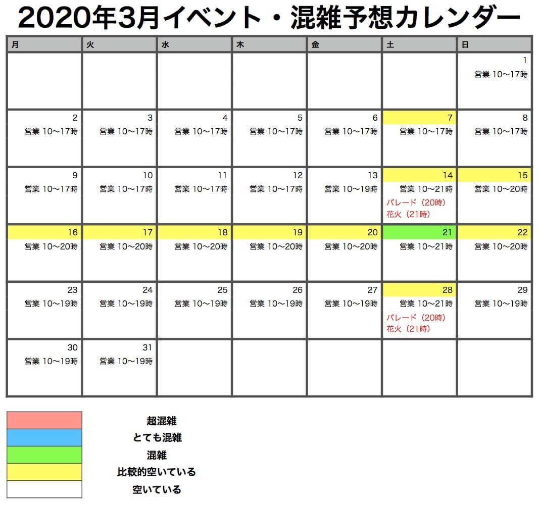 USS 3月の混雑カレンダー