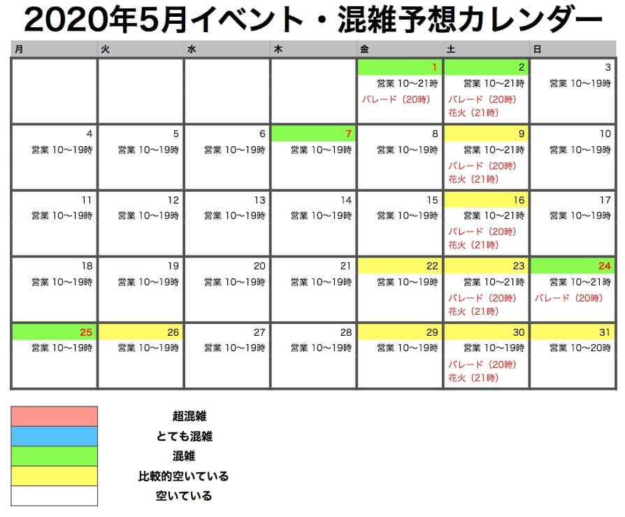 ユニバーサルスタジオ 混雑カレンダー 2020年5月