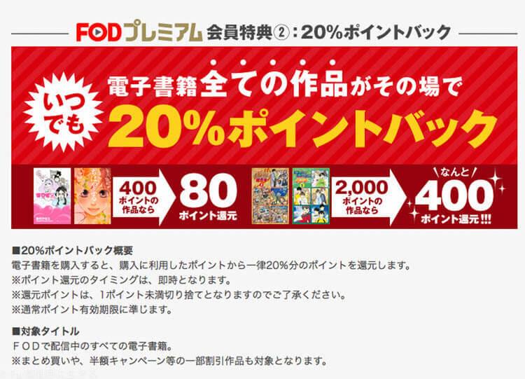 FOD 20%ポイントバック